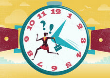 Businesswoman is running out of time. Great illustration of Retro Styled Businesswoman who is running the race of her life with just not enough time to get to a Stock Photography