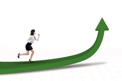 Businesswoman running for profit vector illustration