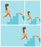 Businesswoman running upstairs vector illustration Royalty Free Stock Images