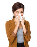Businesswoman runny nose Stock Photo