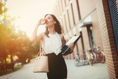 Businesswoman in a rush. To work Stock Images