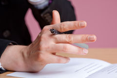 Businesswoman's hand Royalty Free Stock Image