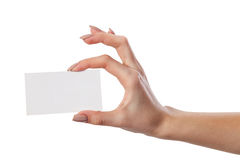 Businesswoman's hand holding blank business card Royalty Free Stock Photo