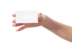 Businesswoman's hand holding blank business card Royalty Free Stock Photography