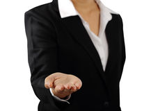 Businesswoman`s hand palm up isolated clipping path. Royalty Free Stock Images