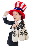 Businesswoman with sacks Stock Image
