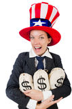 Businesswoman with sacks of money Royalty Free Stock Photos