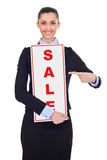 Businesswoman with sale sign Stock Image
