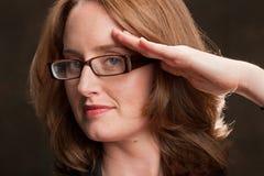Businesswoman salute Stock Photography