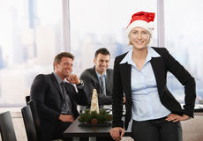 Businesswoman in Santa Claus hat Stock Image