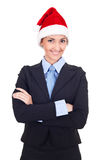 Businesswoman in santa claus hat Royalty Free Stock Photography