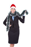 Businesswoman with santa hat Stock Image