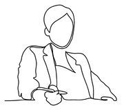 A businesswoman sat at her office desk. Continuous line drawing. Isolated on the white background. Vector. Monochrome Royalty Free Stock Image