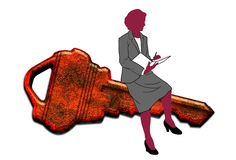 Businesswoman sat on key. Illustration of businesswoman sat on large key writing in notebook, white background Stock Photography