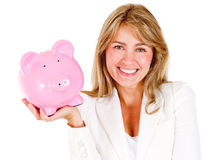 Businesswoman saving money Royalty Free Stock Photo