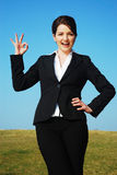 Businesswoman saying okay! Stock Photo