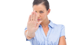 Businesswoman saying stop with hand Royalty Free Stock Photography