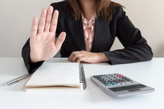 Businesswoman says no at her office Stock Image