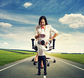 Businesswoman and scared man Royalty Free Stock Image