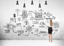 Businesswoman and scheme, light background. Rear view of a businesswoman in a black skirt looking at a business scheme sketch on a concrete wall Royalty Free Stock Photos