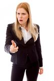 Businesswoman scolding somebody Royalty Free Stock Images