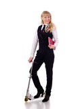 Businesswoman with scooter Royalty Free Stock Photography