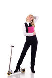 Businesswoman with scooter Royalty Free Stock Photos