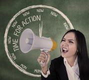 Businesswoman scream using speaker stock photography