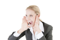 Businesswoman screaming Royalty Free Stock Image