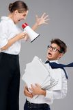 Businesswoman screaming on fearful office Stock Image
