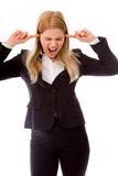 Businesswoman screaming in frustration Stock Images