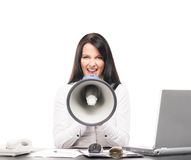 A businesswoman screaming with a megaphone Stock Photography