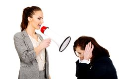 Businesswoman screaming in megaphone. Royalty Free Stock Images