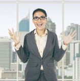Businesswoman screaming near the window Stock Image
