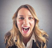 Businesswoman screaming Royalty Free Stock Images