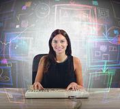 Businesswoman screen Royalty Free Stock Photos