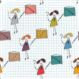 Businesswoman seamless funny pattern Royalty Free Stock Images