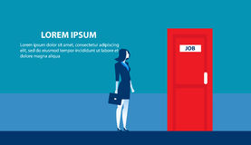 Businesswoman searching for job. Man standing candidate office. Room doors. Concept business illustration. Vector flat Stock Photography