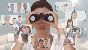 Businesswoman searching for new employees stock footage