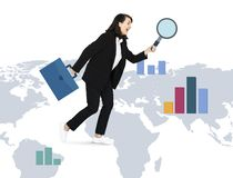 Businesswoman searching for new opportunities royalty free illustration