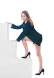 Businesswoman or secretary climbing in her society Stock Image