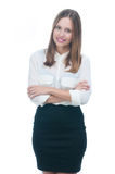 Businesswoman or secretary with crossed arms Royalty Free Stock Photos