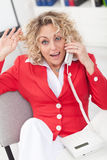 Businesswoman or secretary on the phone Royalty Free Stock Image