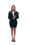 Businesswoman or secretary with portfolio Stock Photos
