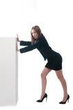 Businesswoman or secretary pushing something Stock Image