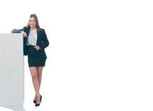 Businesswoman or secretary pushing something Royalty Free Stock Photo