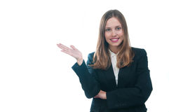 Businesswoman or secretary showing something Royalty Free Stock Photo