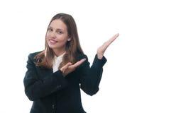 Businesswoman or secretary showing something Royalty Free Stock Photography
