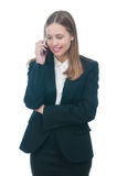 Businesswoman or secretary talking by phone Stock Photos