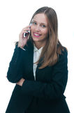 Businesswoman or secretary talking by phone Royalty Free Stock Photography